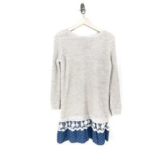 Sweaters - Lace Polka Dot Layered Look Open Back knit Sweater